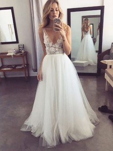 Fairy A Line V Neck Backless White Tulle Wedding Dresses with Appliques, Cheap Beach Wedding Dresses