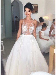 Unique Ball Gown Round Neck Open Back White Wedding Dresses with Appliques