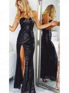 Sexy Strapless Black Sequins Mermaid Long Prom Dresses with Split,Evening Party Dresses DG8021