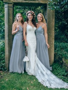 Charming A-Line Spaghetti Straps Open Back Light Grey Chiffon Long Bridesmaid Dresses with Appliques DG8031