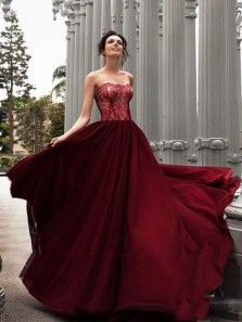 Charming A-Line Sweetheart Backless Burgundy Chiffon Long Prom Dresses with Lace,Elegant Formal Dresses DG0925001