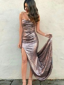 Sexy Sheath Rose Gold Strapless Split Front Sequined Long Prom Dresses,Evening Party Dresses