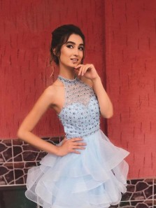 Cute A-Line Halter Light Blue Tulle Short Homecoming Dresses with Beaded,Formal Short Prom Dresses