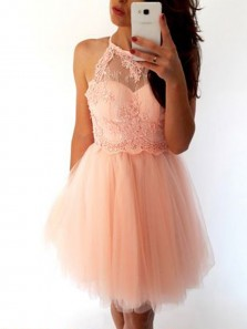 Cute A-Line Halter Open Back Pink Tulle Short Homecoming Dresses with Beading,Short Prom Dresses