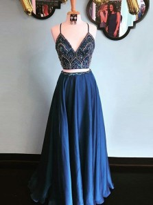 Charming Two Piece Long Prom dress, Straps Beaded Bodice Navy Blue Long Prom Dress