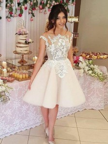 Cute A-Line Round Neck Cap Sleeve Ivory Tulle Homecoming Dresses with Appliques,Short Prom Dresses