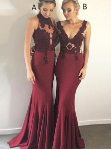 Charming Mermaid Halter Open Back Burgundy Elastic Satin Long Bridesmaid Dresses with Applqiques,Evening Party Dresses