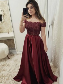 Charming A-Line Off the Shoulder Open Back Burgundy Satin Long Prom Dresses with Appliques,Formal Party Dresses
