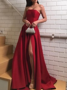 Simple A-Line Strapless Open Back Red Satin Long Prom Dresses with High Split,Evening Party Dresses