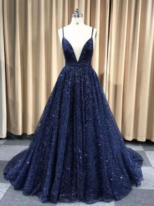 Sparkly A-Line Deep V Neck Open Back Navy Sequins Long Prom Dresses,Formal Evening Party Dresses