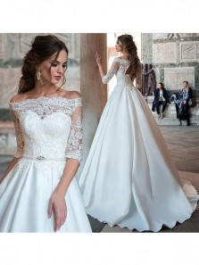Elegant Ball Gown Half Sleeve Wedding Dress, White Lace Satin Off Shoulder Wedding Dress with Applique