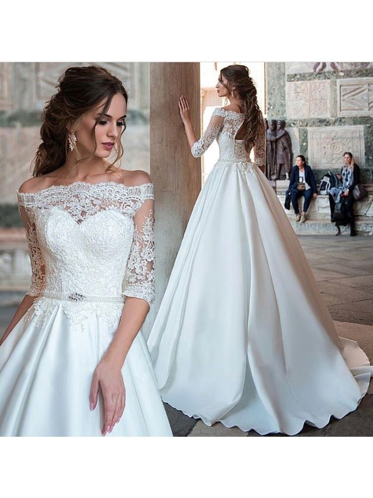 8505fa91d Elegant Ball Gown Half Sleeve Wedding Dress, White Lace Satin Off Shoulder  Wedding Dress with Applique