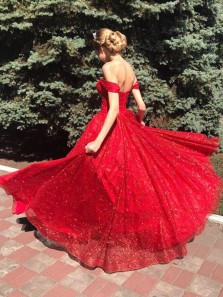 Sparkly Ball Gown Off the Shoulder Open Back Red Sequins Long Prom Dresses with Pockets,Quinceanera Dresses Pageant Dresses ,Girls Junior Graduation Gown,Sweet 16 Party Dresses