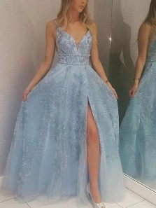 A-Line V Neck Sky Blue Tulle Long Prom Dresses with Appliques Split