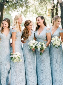 Hot Selling Baby Blue Lace Bridesmaid Dresses for Wedding Party with Applique