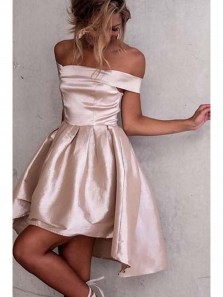 Cute Pink Off Shoulder Homecoming Dresses,Mid Back High Low Stain Short Prom Dress HC0047