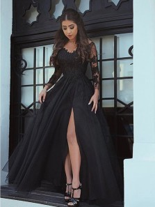Charming A-Line V Neck Long Sleeve Open Back Black Tulle Long Prom Dresses with Appliques,Evening Party Dresses