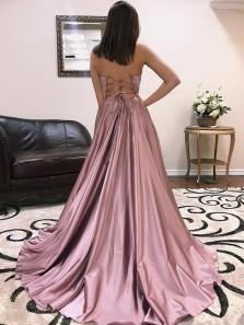 Elegant A-Line V Neck Cross Back Grey Satin Long Prom Dresses with Pockets,Evening Party Dresses 2019