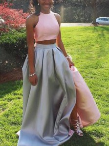 Unique Two Piece Two-tone Halter A-Line Pink Satin Long Prom Dresses,Evening Party Dresses