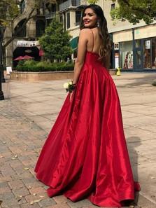 A-Line V Neck Open Back Red Satin Long Prom Dresses,Formal Party Dresses