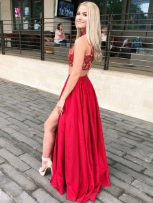 Unique Two Piece Halter Red Satin Long Prom Dresses with Side Split,Formal Evening Dresses