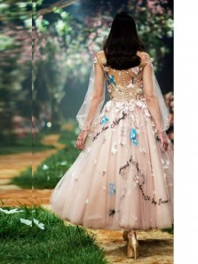 Princess A-Line Round Neck Blush Tulle Tea Length Prom Dresses with Embroidery,Cocktail Party Dresses