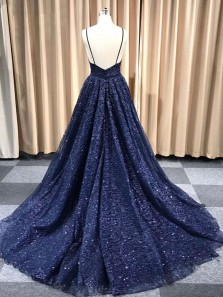 Sparkly A-Line Deep V Neck Open Back Navy Sequins Long Prom Dresses,Formal Evening Party Dresses