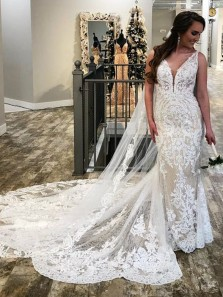 Elegant Mermaid V Neck Open Back White Lace Wedding Dresses with Train,Charming Bridal Dresses
