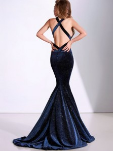 Sparkly Mermaid V Neck Cross Back Navy Blue Velvet Prom Dresses with Train,Evening Party Dresses
