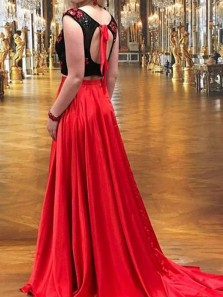 Unique Two Piece A-Line Red Satin Long Prom Dresses with Appliques Beaded,Evening Party Dresses