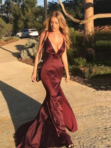Sexy Deep V Neck Burgundy Satin Criss Cross Back Mermaid Long Prom Dresses with Side Split,Charming Evening Dresses DG0920001