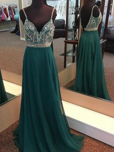 Dark Green V Neck Chiffon Long Prom Dress, Spaghetti Strarps A Line Long Prom dress with Beading