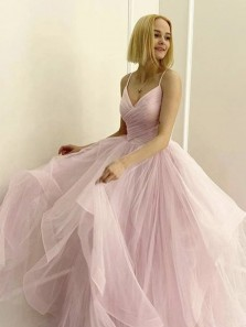 Princess A-Line V Neck Blush Pink Tulle Long Prom Dresses,Sweet 16 Party Gown