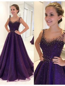 Purple Cute Round Neck Tulle and Satin Beads Long Prom Dress, Purple Evening Dress