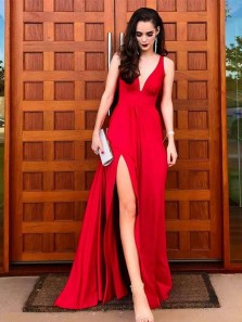 Classy A-Line V Neck Red Satin Long Prom Dresses with Side Split,Elegant Evening Formal Party Dresses DG0919009