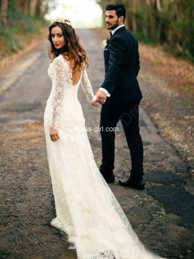 Stunning Sheath V Neck Long Sleeve Open Back White Lace Wedding Dresses With Train