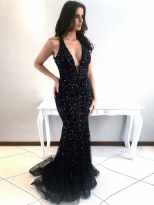 Modest Mermaid Deep V Neck Open Back Black Satin Long Prom Dresses with Beading,Charming Formal Dresses