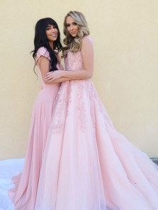 Charming A-Line V Neck Pink Tulle Long Prom Dresses with Lace,Cute Quinceanera Dresses