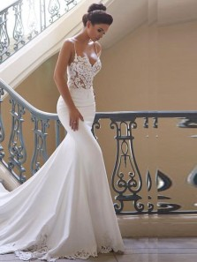 Romantic Mermaid Sweetheart Spaghetti Straps Open Back White Satin Long Wedding Dresses with Lace DG1201010
