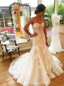 Modest Mermaid Sweetheart Open Back Ivory Lace Wedding Dresses with Train