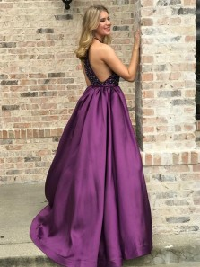 Romantic A-Line Halter Grape Satin Beading Long Prom Dresses,Formal Evening Party Dresses