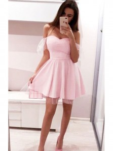 Cute A-Line Off the Shoulder Pink Tulle Short Homecoming Dresses,Charming Short Prom Dresses DG8040