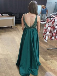 Stunning A-Line V Neck Open Back Hunter Green Satin Long Prom Dresses with Beading,Charming Evening Dresses