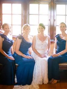 Charming Sheath One Shoulder Navy Blue Elastic Satin Long Bridesmaid Dresses with Ruffled