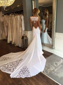 Popular Elegant Fashion Sweetheart Sleeveless Open Back White Mermaid Wedding Dress With Lace