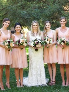 Cute A-Line V Neck Open Back Pink Chiffon Short Bridesmaid Dresses Under 100