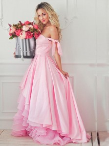 Cute A-Line Off the Shoulder Open Back Pink Satin High-Low Prom Dresses,Cocktail Party Dresses