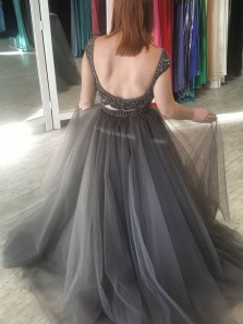 Chic Two Piece Scoop Neck Backless Cap Sleeve Grey Tulle Long Prom Dresses with Beaded,Evening Party Dresses