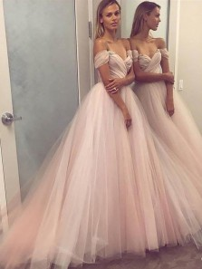 Elegant Off the Shoulder Brush Pink Prom Dress,Sexy Long Tulle Evening Gown,Cheap New Style Prom Gown