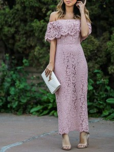 Sheath Off the Shoulder Open Back Dusty Pink Lace Long Bridesmaid Dresses,Daily Dresses